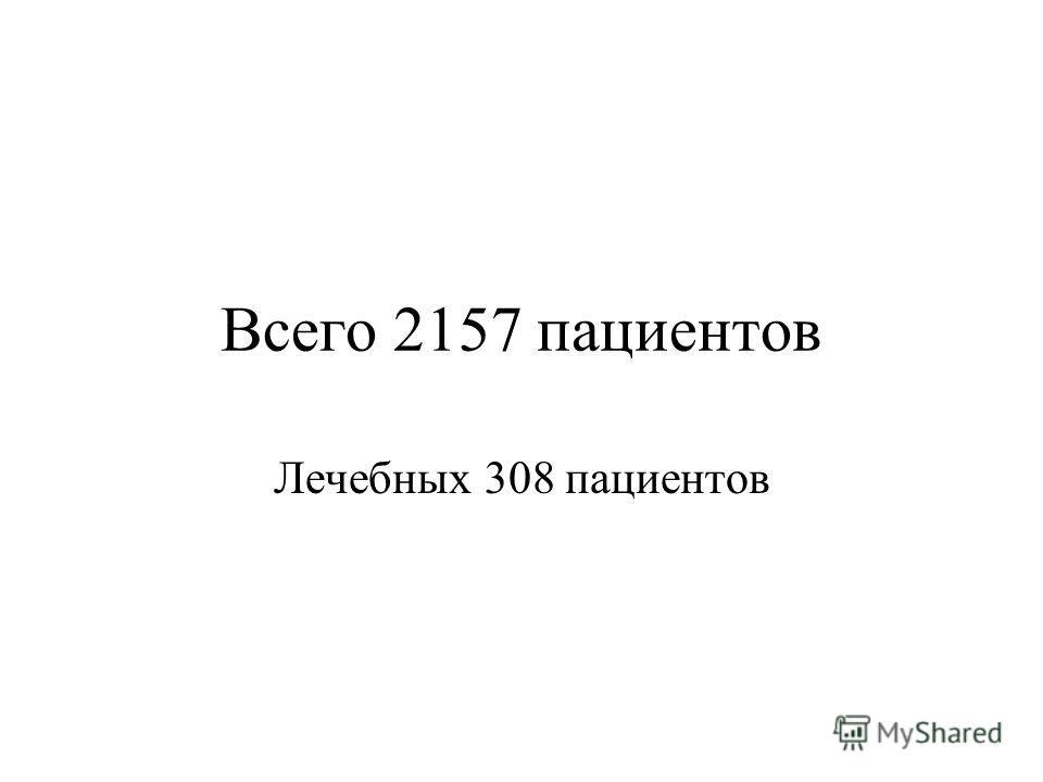 Всего 2157 пациентов Лечебных 308 пациентов