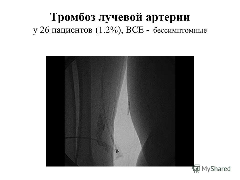 Тромбоз лучевой артерии у 26 пациентов (1.2%), ВСЕ - бессимптомные