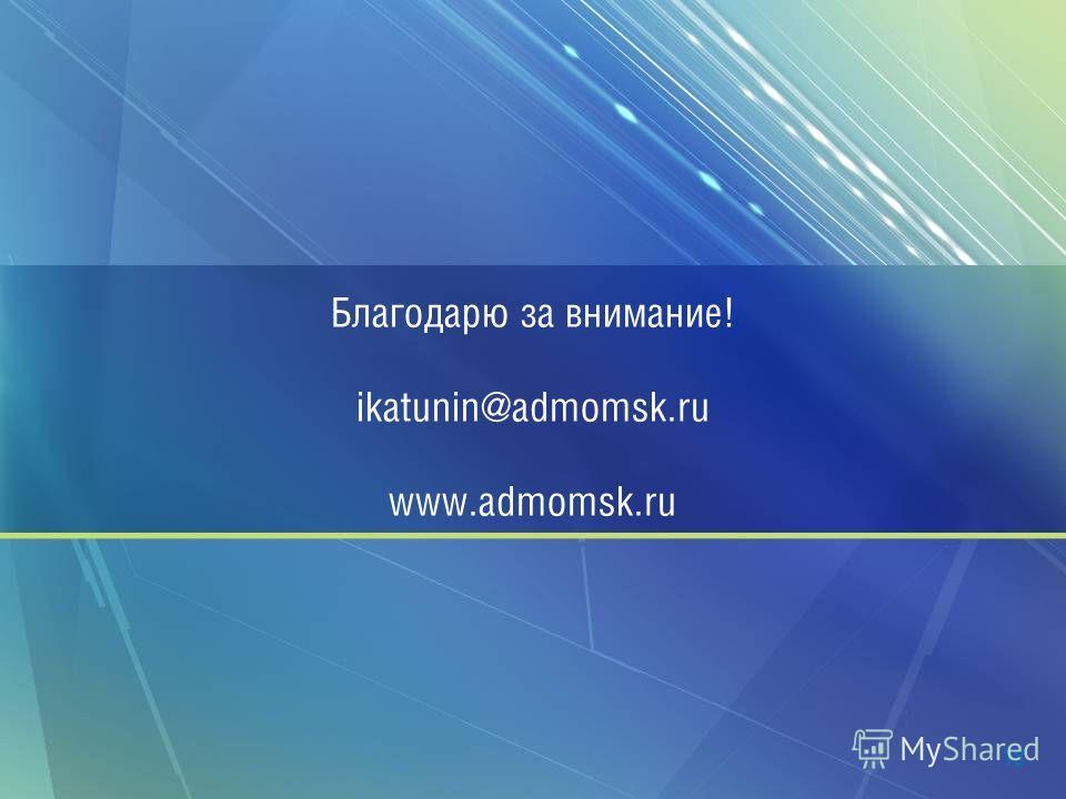 Благодарю за внимание! ikatunin@admomsk.ru www.admomsk.ru 18