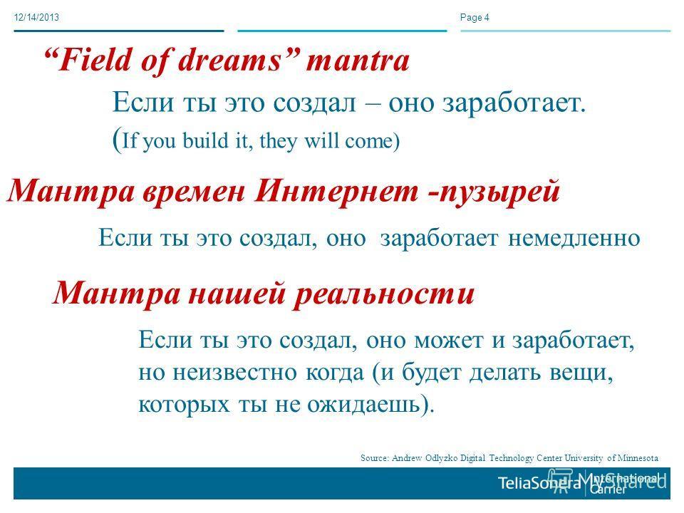 12/14/2013Page 4 Если ты это создал – оно заработает. ( If you build it, they will come) Field of dreams mantra Если ты это создал, оно заработает немедленно Мантра времен Интернет -пузырей Если ты это создал, оно может и заработает, но неизвестно ко
