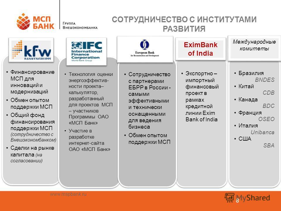 www.mspbank.ru 8 Финансирование МСП для инноваций и модернизаций Обмен опытом поддержки МСП Общий фонд финансирования поддержки МСП (сотрудничество с Внешэкономбанком) Сделки на рынке капитала (на согласовании) Финансирование МСП для инноваций и моде