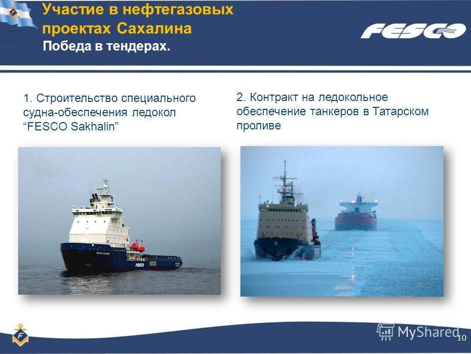 Участие в нефтегазовых проектах Сахалина10 1. Строительство специального судна-обеспечения ледокол FESCO Sakhalin Победа в тендерах. 2. Контракт на ледокольное обеспечение танкеров в Татарском проливе