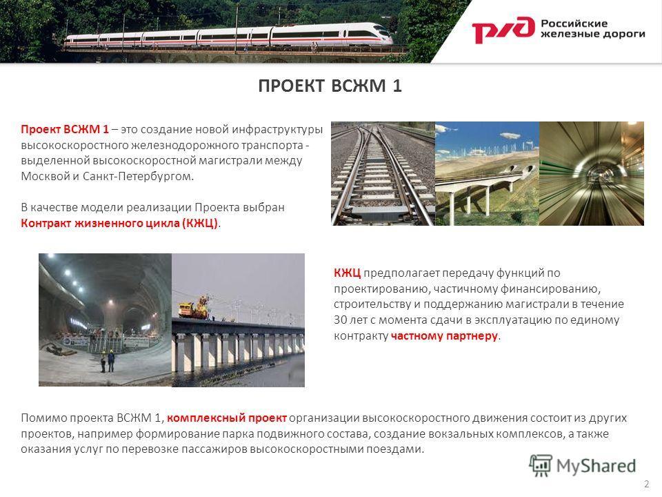 ПРОЕКТ ВСЖМ 1 Проект ВСЖМ 1 – это создание новой инфраструктуры высокоскоростного железнодорожного транспорта - выделенной высокоскоростной магистрали между Москвой и Санкт-Петербургом. В качестве модели реализации Проекта выбран Контракт жизненного