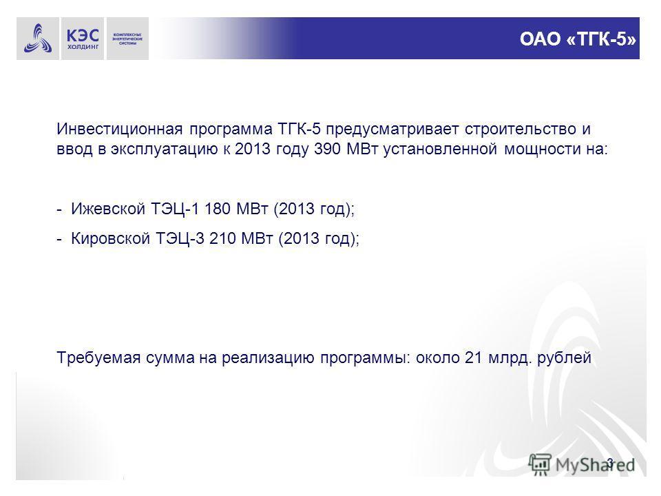 3 Инвестиционная программа ТГК-5 предусматривает строительство и ввод в эксплуатацию к 2013 году 390 МВт установленной мощности на: - Ижевской ТЭЦ-1 180 МВт (2013 год); - Кировской ТЭЦ-3 210 МВт (2013 год); Требуемая сумма на реализацию программы: ок