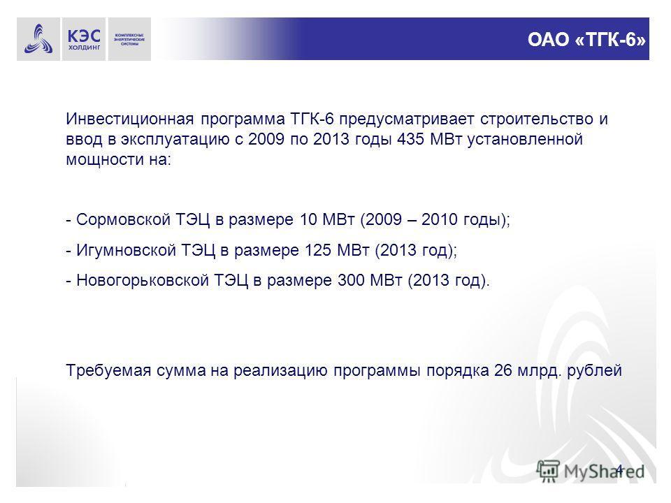4 Инвестиционная программа ТГК-6 предусматривает строительство и ввод в эксплуатацию с 2009 по 2013 годы 435 МВт установленной мощности на: - Сормовской ТЭЦ в размере 10 МВт (2009 – 2010 годы); - Игумновской ТЭЦ в размере 125 МВт (2013 год); - Нового