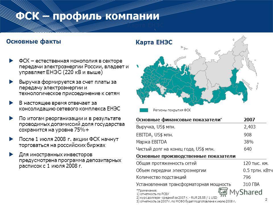 2 ФСК – естественная монополия в секторе передачи электроэнергии России, владеет и управляет ЕНЭС (220 кВ и выше) Выручка формируется за счет платы за передачу электроэнергии и технологическое присоединение к сетям В настоящее время отвечает за консо