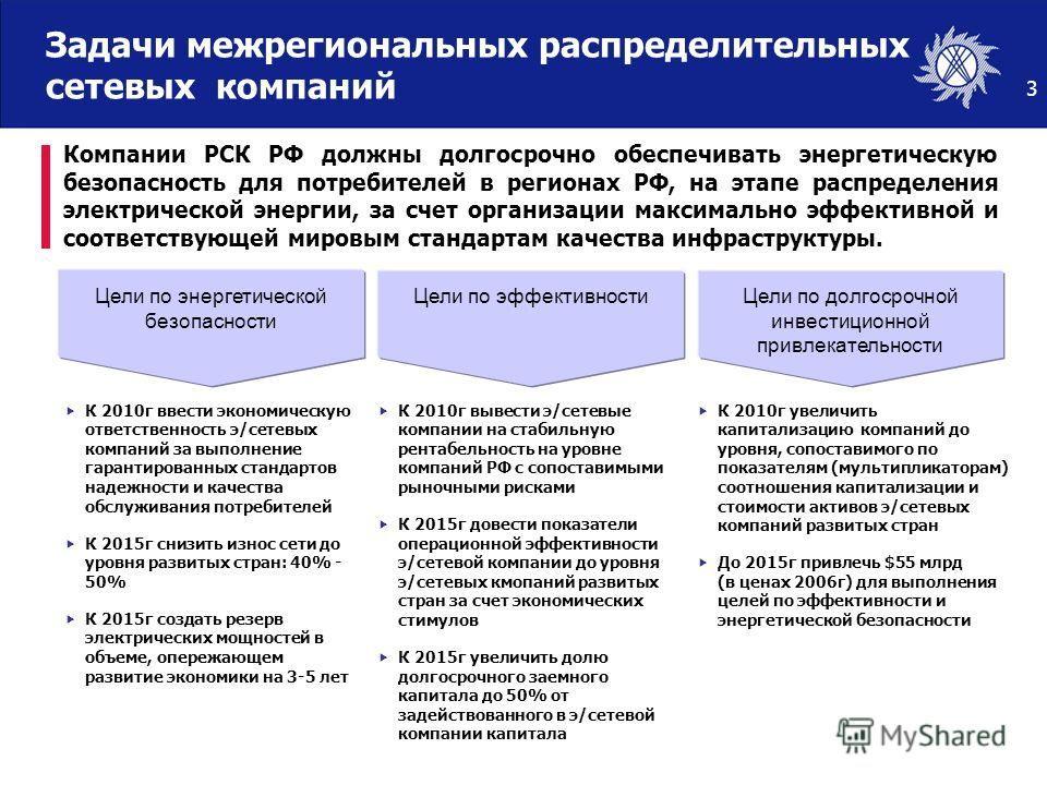 3 Компании РСК РФ должны долгосрочно обеспечивать энергетическую безопасность для потребителей в регионах РФ, на этапе распределения электрической энергии, за счет организации максимально эффективной и соответствующей мировым стандартам качества инфр