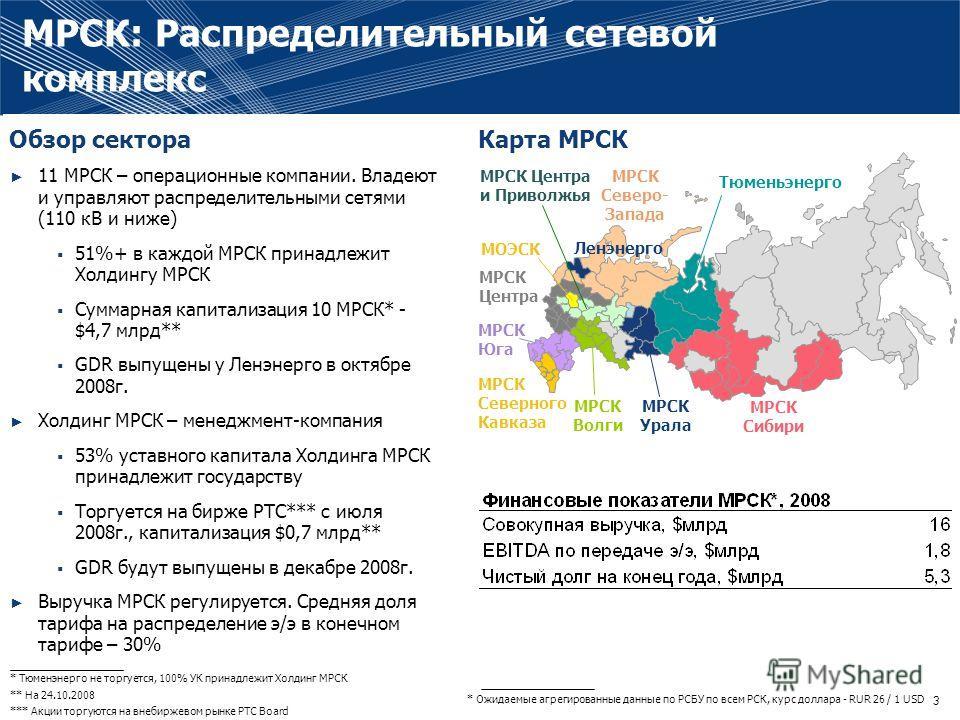 2 ФСК – естественная монополия в секторе передачи э/э России, владеет и управляет ЕНЭС (220кВ и выше) Выручка компании регулируется. Средняя доля тарифа на передачу э/э в конечном тарифе 8% Основные акционеры: государство - 77,6%, частные инвесторы –