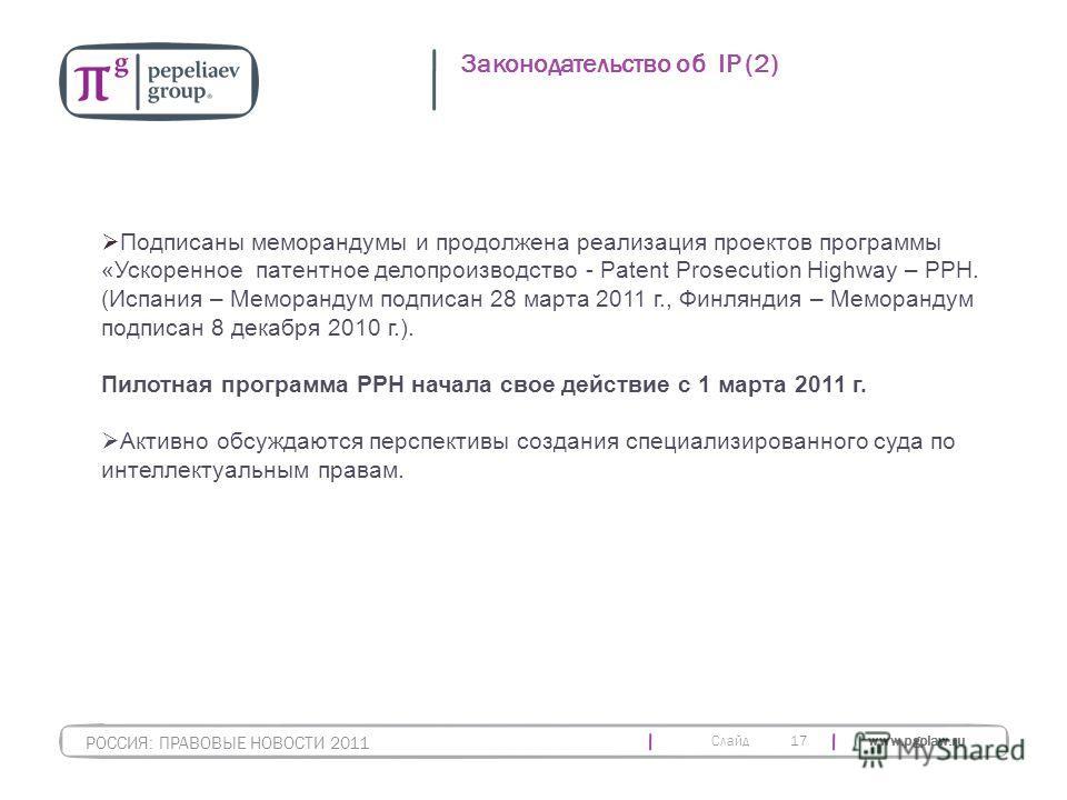 Слайд www.pgplaw.ru 17 Законодательство об IP (2) РОССИЯ: ПРАВОВЫЕ НОВОСТИ 2011 Подписаны меморандумы и продолжена реализация проектов программы «Ускоренное патентное делопроизводство - Patent Prosecution Highway – PPH. (Испания – Меморандум подписан