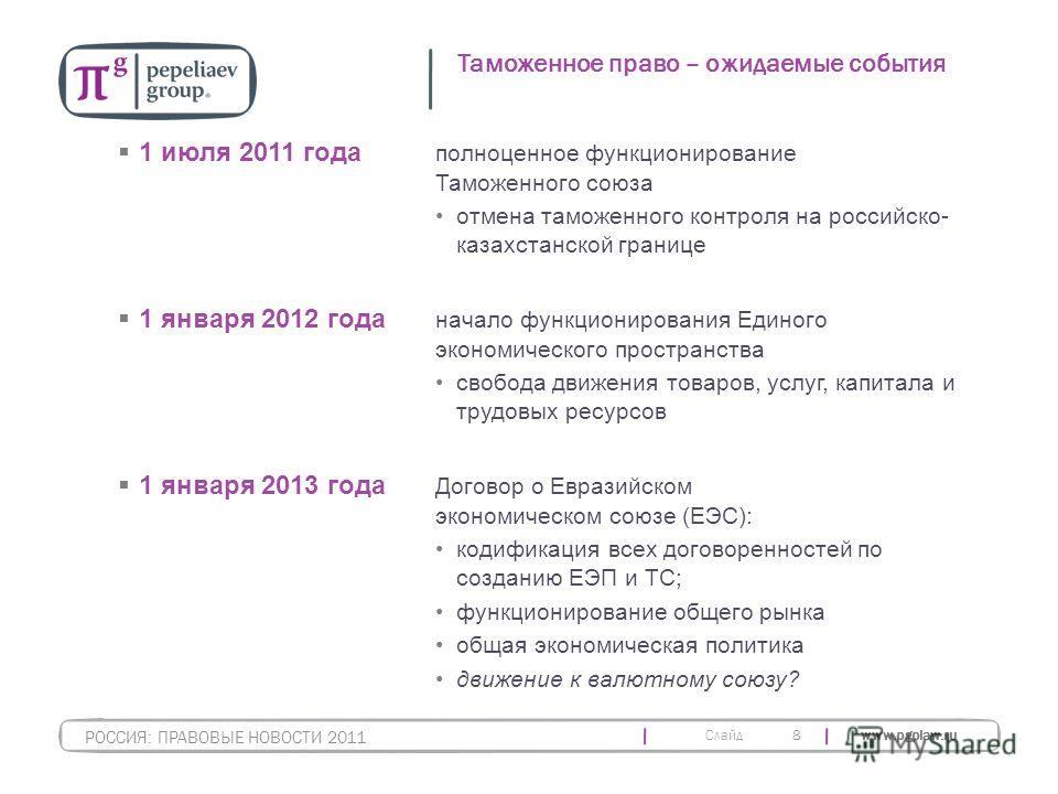 Слайд www.pgplaw.ru 8 Таможенное право – ожидаемые события РОССИЯ: ПРАВОВЫЕ НОВОСТИ 2011 1 июля 2011 года полноценное функционирование Таможенного союза отмена таможенного контроля на российско- казахстанской границе 1 января 2012 года начало функцио
