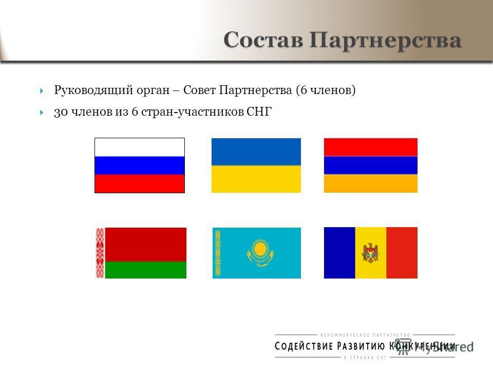 Руководящий орган – Совет Партнерства (6 членов) 30 членов из 6 стран-участников СНГ Состав Партнерства