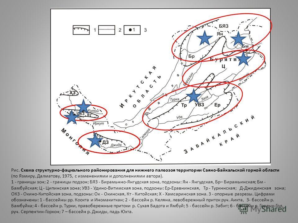 Рис. Схема структурно-фациального районирования для нижнего палеозоя территории Саяно-Байкальской горной области (по Язмиру, Далматову, 1975, с изменениями и дополнениями автора). 1 - границы зон; 2 - границы подзон; БЯЗ - Бирамьнно-Янгудская зона, п
