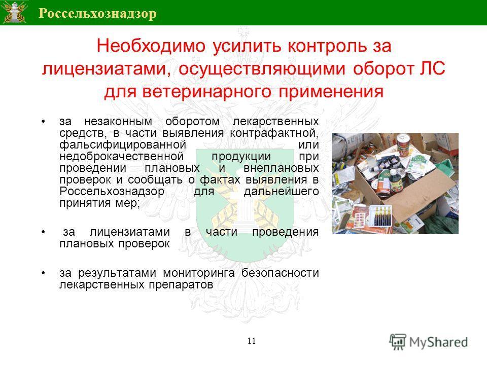 Россельхознадзор Необходимо усилить контроль за лицензиатами, осуществляющими оборот ЛС для ветеринарного применения за незаконным оборотом лекарственных средств, в части выявления контрафактной, фальсифицированной или недоброкачественной продукции п