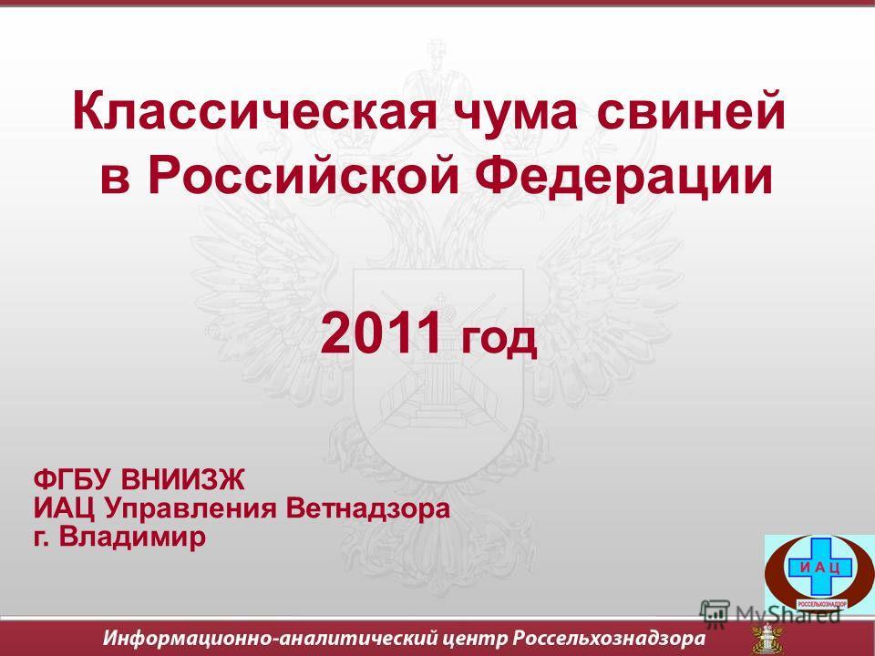 Классическая чума свиней в Российской Федерации 2011 год ФГБУ ВНИИЗЖ ИАЦ Управления Ветнадзора г. Владимир