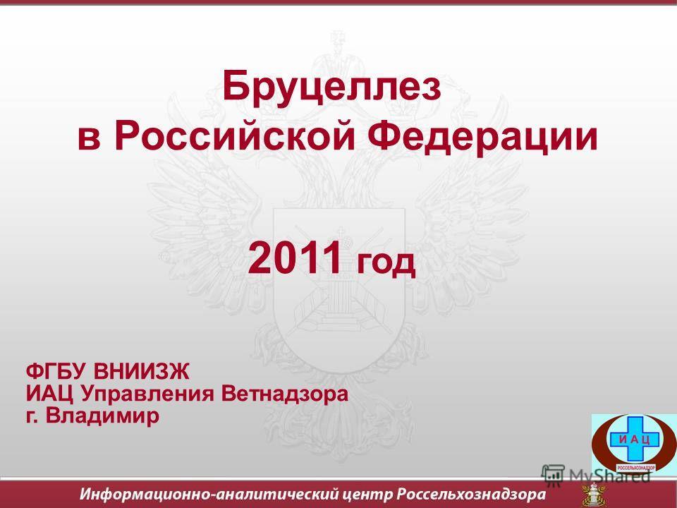 Бруцеллез в Российской Федерации 2011 год ФГБУ ВНИИЗЖ ИАЦ Управления Ветнадзора г. Владимир