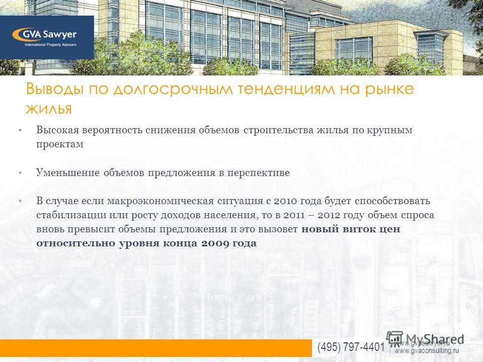 (495) 797-4401 www.gvasawyer.ru www.gvaconsulting.ru Выводы по долгосрочным тенденциям на рынке жилья Высокая вероятность снижения объемов строительства жилья по крупным проектам Уменьшение объемов предложения в перспективе В случае если макроэкономи
