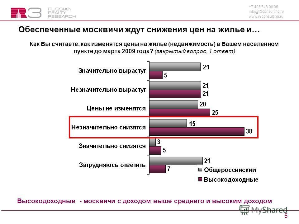 +7 495 748 08 05 info@r3consulting.ru www.r3consulting.ru 5 Обеспеченные москвичи ждут снижения цен на жилье и… Как Вы считаете, как изменятся цены на жилье (недвижимость) в Вашем населенном пункте до марта 2009 года? (закрытый вопрос, 1 ответ) Высок