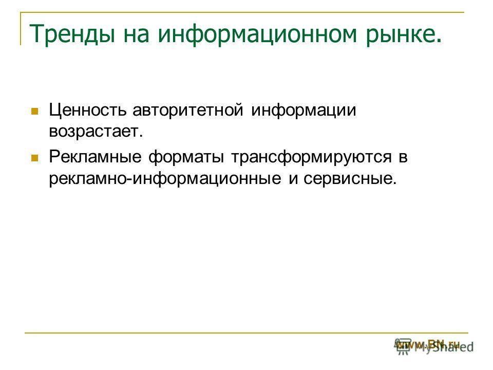 Тренды на информационном рынке. www.BN.ru Ценность авторитетной информации возрастает. Рекламные форматы трансформируются в рекламно-информационные и сервисные.