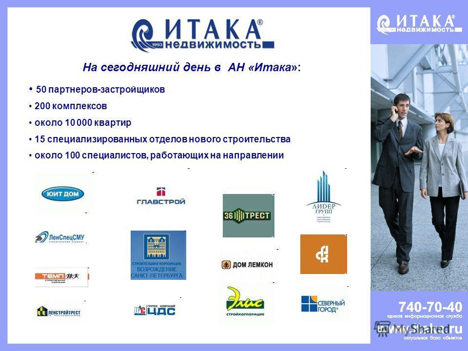 На сегодняшний день в АН «Итака»: 50 партнеров-застройщиков 200 комплексов около 10 000 квартир 15 специализированных отделов нового строительства около 100 специалистов, работающих на направлении