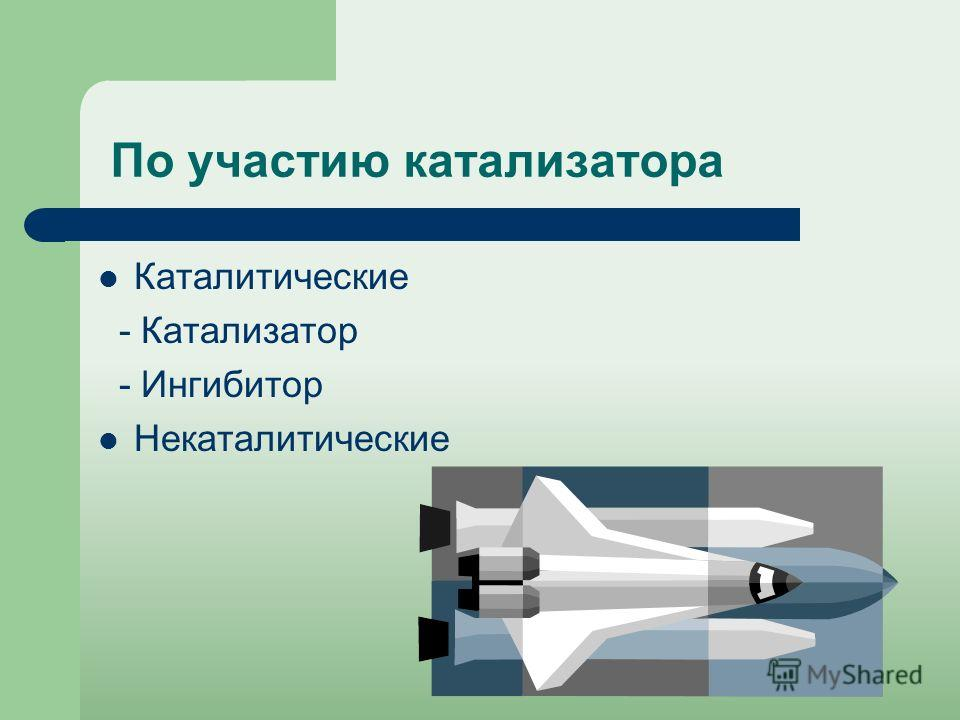 По участию катализатора Каталитические - Катализатор - Ингибитор Некаталитические