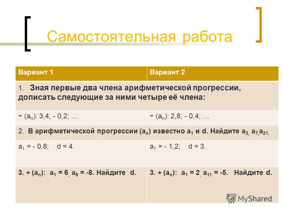 Самостоятельная работа Вариант 1Вариант 2 1. Зная первые два члена арифметической прогрессии, дописать следующие за ними четыре её члена: ÷ (а n ): 3,4; - 0,2; …÷ (а n ): 2,8; - 0,4; … 2. В арифметической прогрессии (а n ) известно а 1 и d. Найдите а