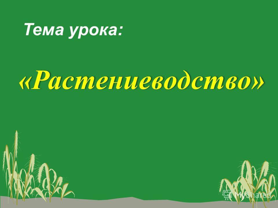 Тема урока: «Растениеводство»