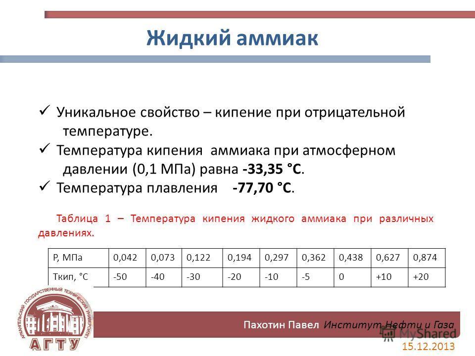 P, МПа0,0420,0730,1220,1940,2970,3620,4380,6270,874 Tкип, °C-50-40-30-20-10-50+10+20 Жидкий аммиак Уникальное свойство – кипение при отрицательной температуре. Температура кипения аммиака при атмосферном давлении (0,1 МПа) равна -33,35 °C. Температур