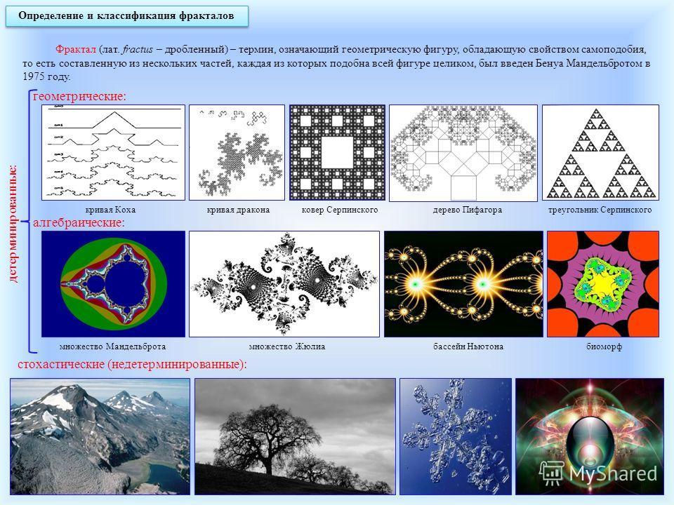 Определение и классификация фракталов Фрактал (лат. fractus – дробленный) – термин, означающий геометрическую фигуру, обладающую свойством самоподобия, то есть составленную из нескольких частей, каждая из которых подобна всей фигуре целиком, был введ