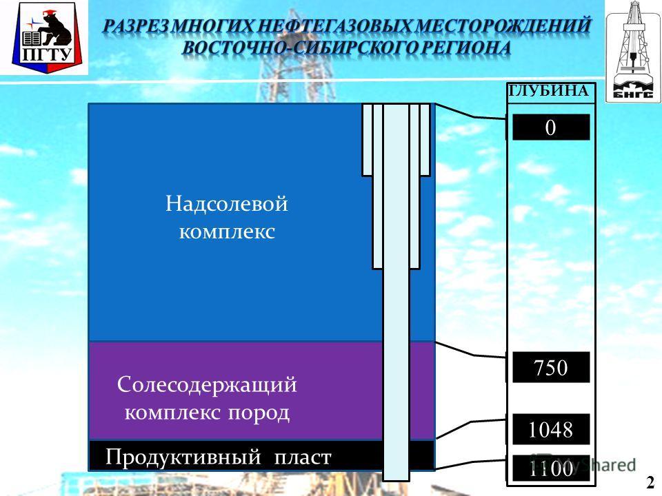 Солесодержащий комплекс пород Продуктивный пласт Надсолевой комплекс 0 750 1048 1100 ГЛУБИНА 2