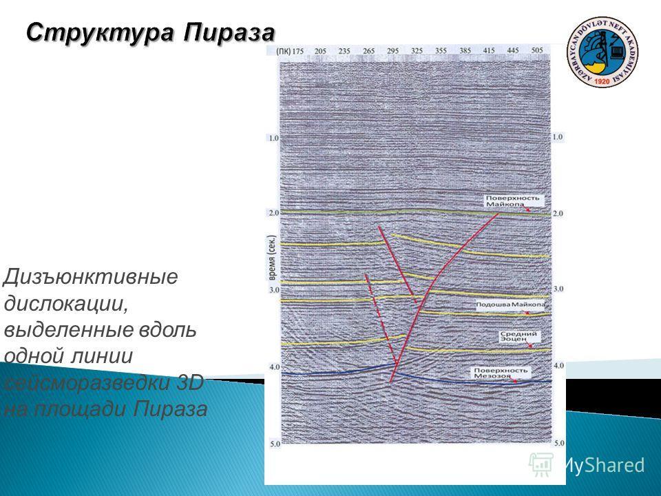 Дизъюнктивные дислокации, выделенные вдоль одной линии сейсморазведки 3D на площади Пираза
