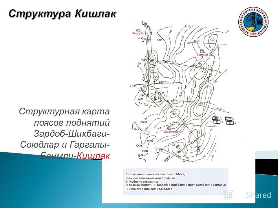Структурная карта поясов поднятий Зардоб-Шихбаги- Союдлар и Гаргалы- Беимли-Кишлак