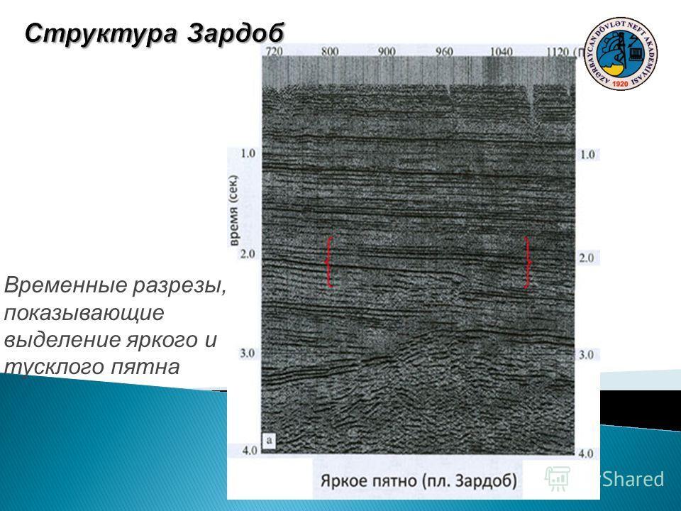 Временные разрезы, показывающие выделение яркого и тусклого пятна