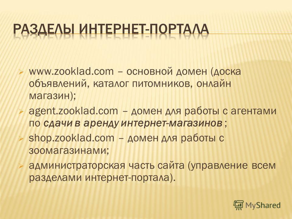 www.zooklad.com – основной домен (доска объявлений, каталог питомников, онлайн магазин); agent.zooklad.com – домен для работы с агентами по сдачи в аренду интернет-магазинов ; shop.zooklad.com – домен для работы с зоомагазинами; администраторская час