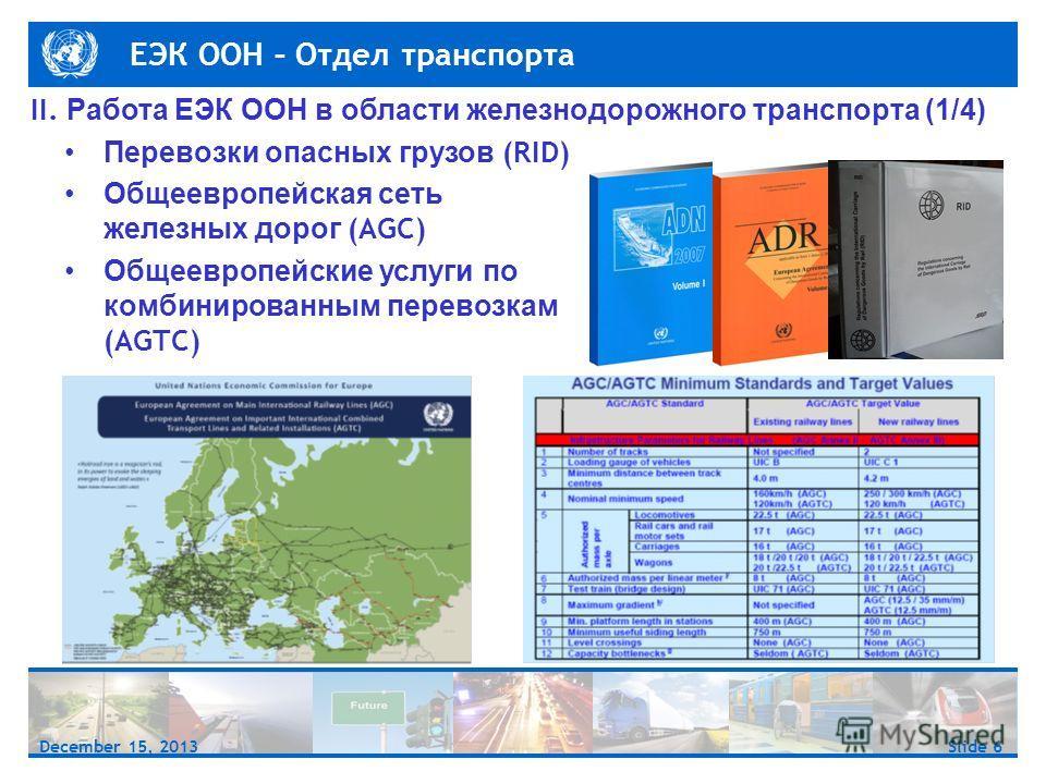 ЕЭК ООН – Отдел транспорта Slide 6December 15, 2013 II. Работа ЕЭК ООН в области железнодорожного транспорта (1/4) Перевозки опасных грузов (RID) Общеевропейская сеть железных дорог (AGC) Общеевропейские услуги по комбинированным перевозкам (AGTC)