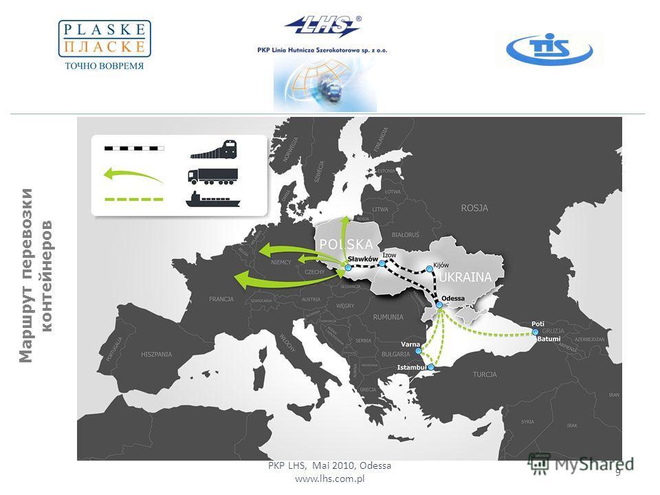 PKP LHS, Mai 2010, Odessa www.lhs.com.pl 9 Маршрут перевозки контейнеров