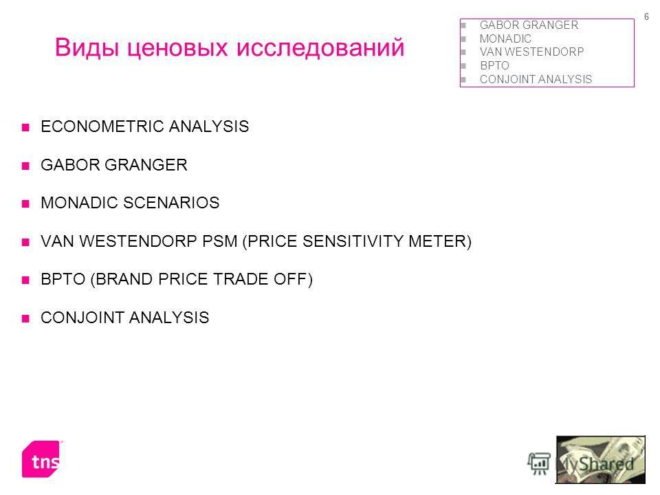 6 ECONOMETRIC ANALYSIS GABOR GRANGER MONADIC SCENARIOS VAN WESTENDORP PSM (PRICE SENSITIVITY METER) BPTO (BRAND PRICE TRADE OFF) CONJOINT ANALYSIS Виды ценовых исследований GABOR GRANGER MONADIC VAN WESTENDORP BPTO CONJOINT ANALYSIS