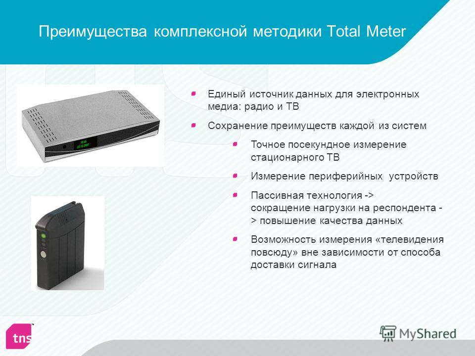 Преимущества комплексной методики Total Meter Единый источник данных для электронных медиа: радио и ТВ Сохранение преимуществ каждой из систем Точное посекундное измерение стационарного ТВ Измерение периферийных устройств Пассивная технология -> сокр