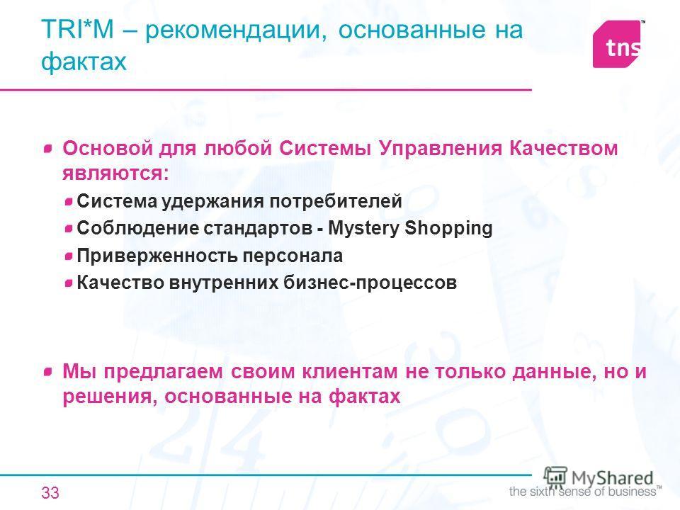 33 TRI*M – рекомендации, основанные на фактах Основой для любой Системы Управления Качеством являются: Система удержания потребителей Соблюдение стандартов - Mystery Shopping Приверженность персонала Качество внутренних бизнес-процессов Мы предлагаем