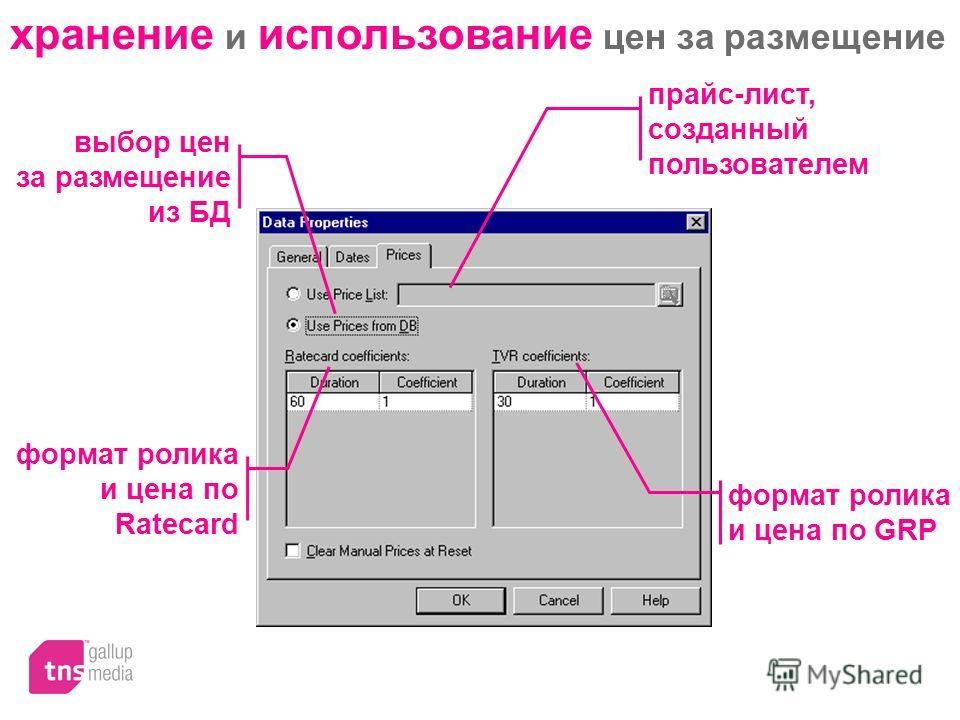 хранение и использование цен за размещение прайс-лист, созданный пользователем формат ролика и цена по GRP выбор цен за размещение из БД формат ролика и цена по Ratecard
