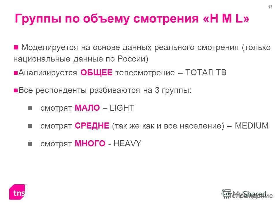 Телевидение 17 Группы по объему смотрения «H M L» Моделируется на основе данных реального смотрения (только национальные данные по России) Анализируется ОБЩЕЕ телесмотрение – ТОТАЛ ТВ Все респонденты разбиваются на 3 группы: смотрят МАЛО – LIGHT смот