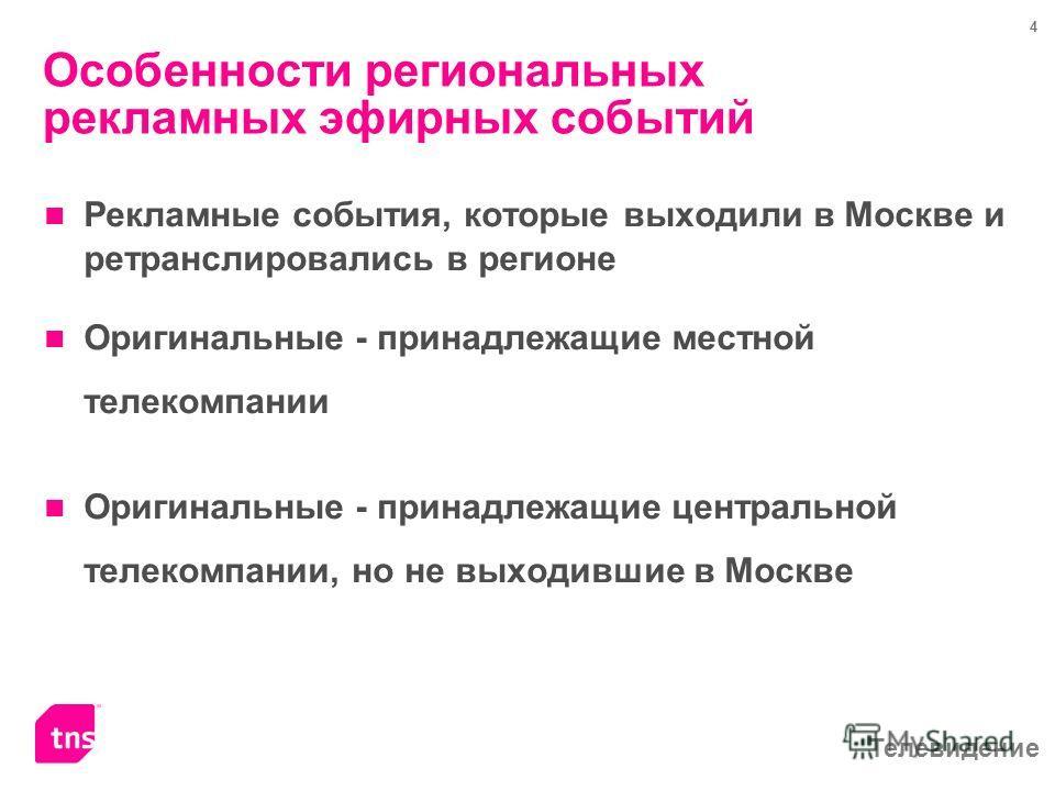 Телевидение 4 Особенности региональных рекламных эфирных событий Рекламные события, которые выходили в Москве и ретранслировались в регионе Оригинальные - принадлежащие местной телекомпании Оригинальные - принадлежащие центральной телекомпании, но не
