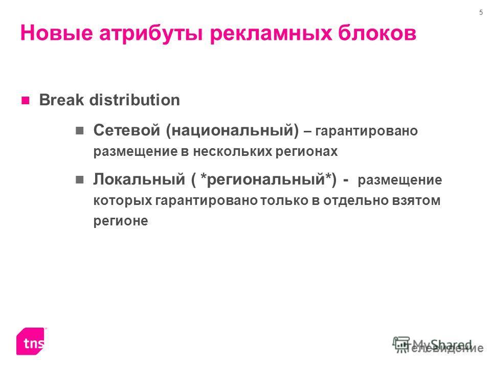 Телевидение 5 Новые атрибуты рекламных блоков Break distribution Сетевой (национальный) – гарантировано размещение в нескольких регионах Локальный ( *региональный*) - размещение которых гарантировано только в отдельно взятом регионе