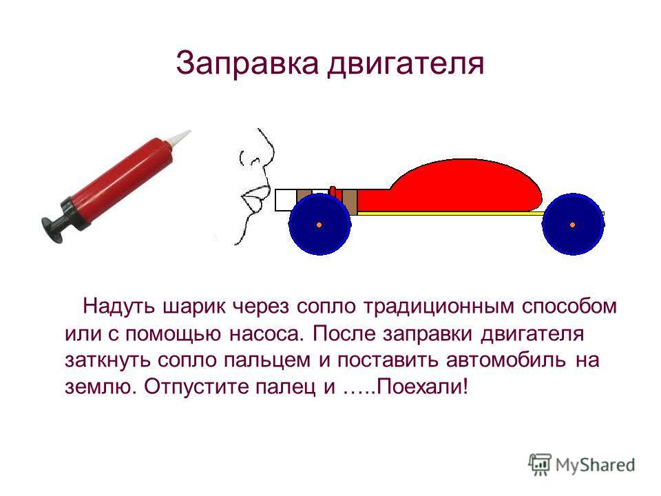 Заправка двигателя Надуть шарик через сопло традиционным способом или с помощью насоса. После заправки двигателя заткнуть сопло пальцем и поставить автомобиль на землю. Отпустите палец и …..Поехали!
