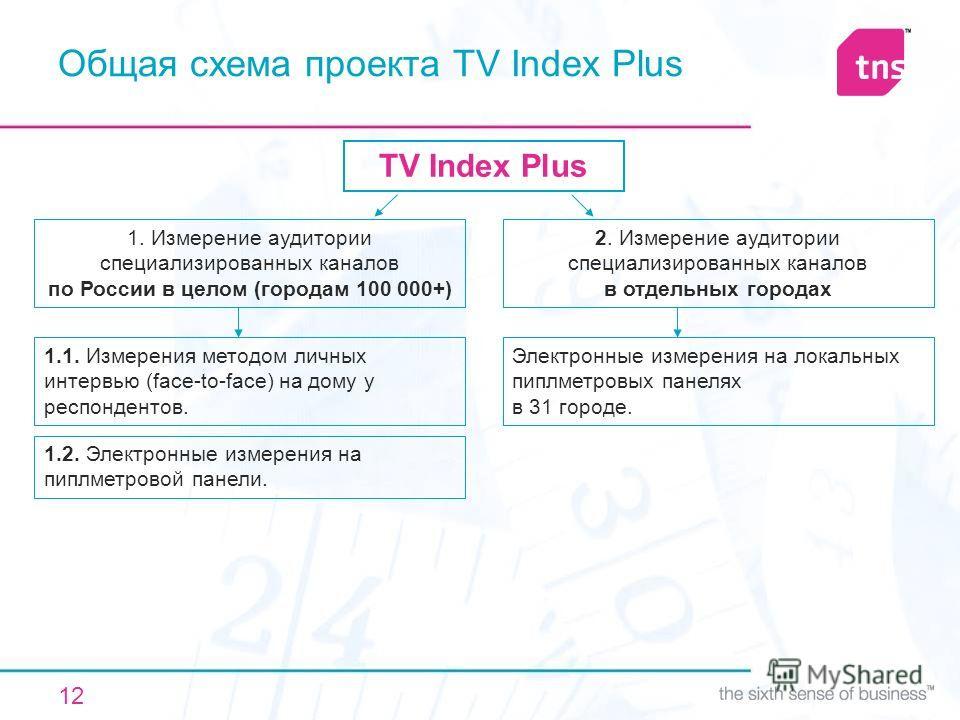 12 Общая схема проекта TV Index Plus TV Index Plus 1. Измерение аудитории специализированных каналов по России в целом (городам 100 000+) 2. Измерение аудитории специализированных каналов в отдельных городах 1.1. Измерения методом личных интервью (fa