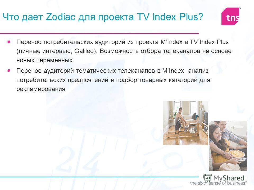 Что дает Zodiac для проекта TV Index Plus? Перенос потребительских аудиторий из проекта MIndex в TV Index Plus (личные интервью, Galileo). Возможность отбора телеканалов на основе новых переменных Перенос аудиторий тематических телеканалов в MIndex,