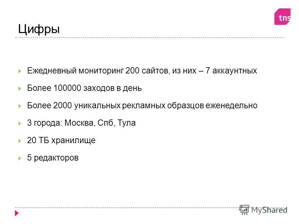 Цифры Ежедневный мониторинг 200 сайтов, из них – 7 аккаунтных Более 100000 заходов в день Более 2000 уникальных рекламных образцов еженедельно 3 города: Москва, Спб, Тула 20 ТБ хранилище 5 редакторов
