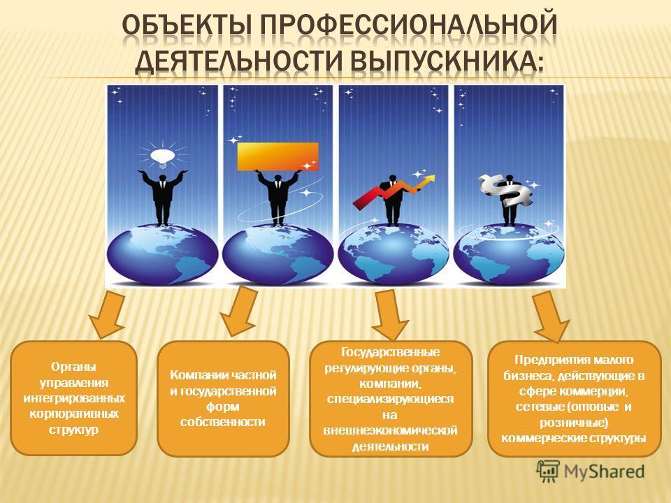 Органы управления интегрированных корпоративных структур Предприятия малого бизнеса, действующие в сфере коммерции, сетевые (оптовые и розничные) коммерческие структуры Государственные регулирующие органы, компании, специализирующиеся на внешнеэконом