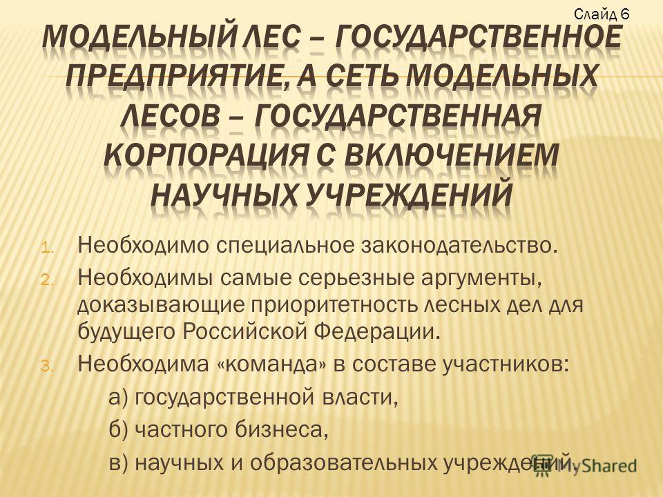 1. Необходимо специальное законодательство. 2. Необходимы самые серьезные аргументы, доказывающие приоритетность лесных дел для будущего Российской Федерации. 3. Необходима «команда» в составе участников: а) государственной власти, б) частного бизнес