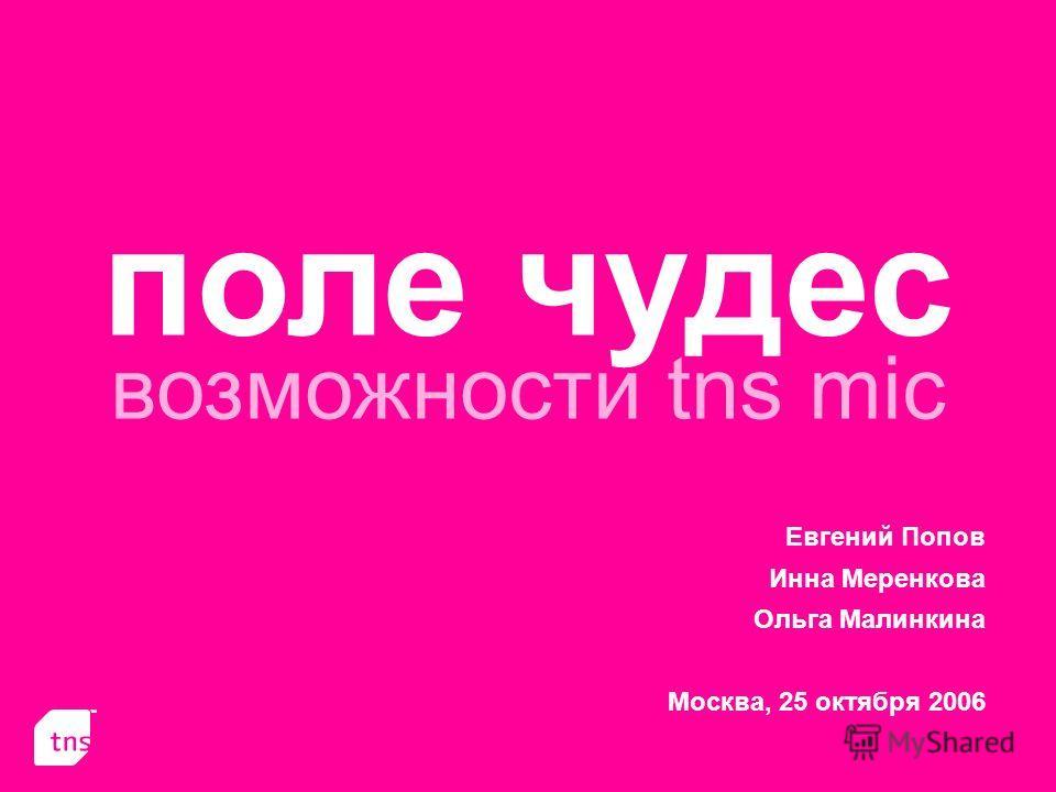 поле чудес возможности tns mic Евгений Попов Инна Меренкова Ольга Малинкина Москва, 25 октября 2006