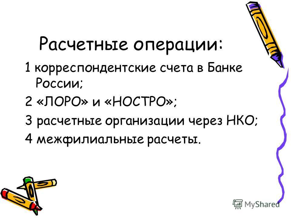 Расчетные операции: 1 корреспондентские счета в Банке России; 2 «ЛОРО» и «НОСТРО»; 3 расчетные организации через НКО; 4 межфилиальные расчеты.